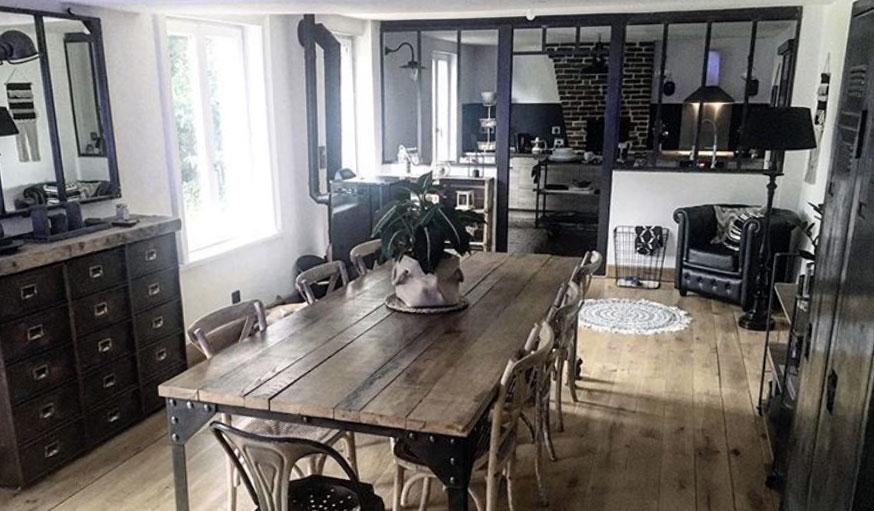 Avant après maison en Normandie salle à manger style industriel après les travaux