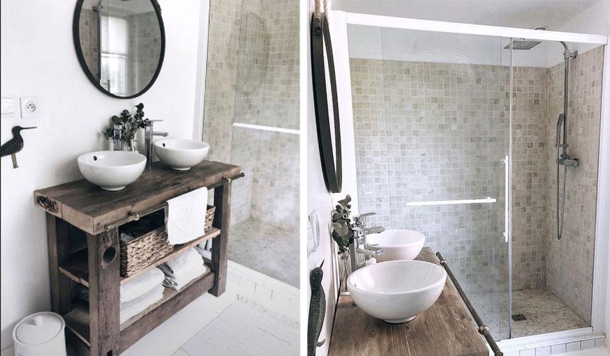 Salle de bains après les travaux maison Normandie