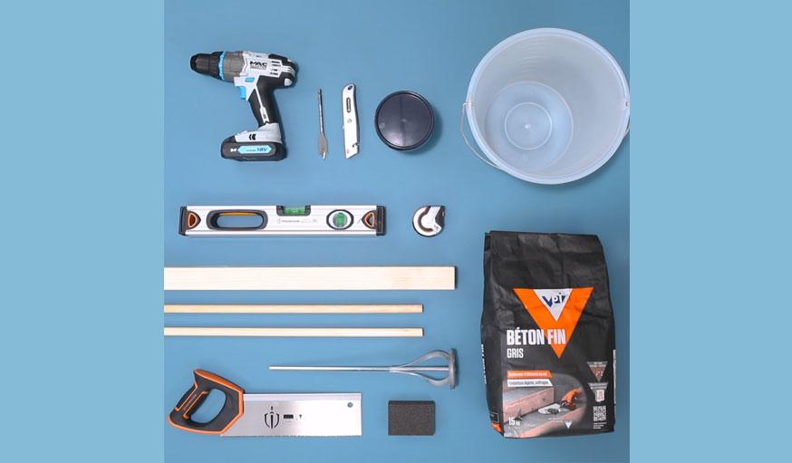 tutoriel portemanteau bois et béton outils et matériaux