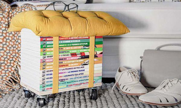 Tuto : Fabriquez un range-revues pratique qui sert aussi de repose-pieds !