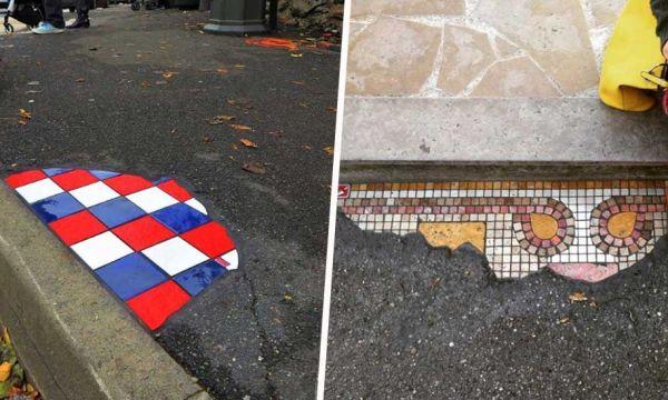 Cet artiste répare les trottoirs avec des mosaïques et embellit la ville