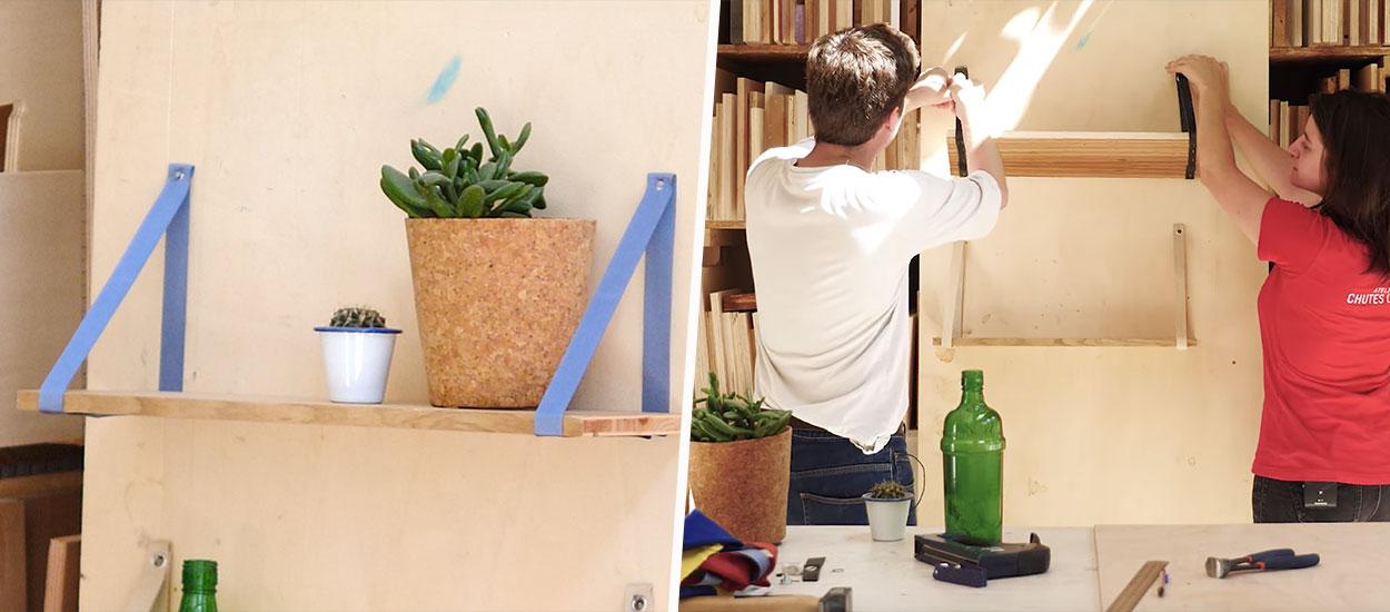 diy fabriquer une tag re murale avec des lani res de. Black Bedroom Furniture Sets. Home Design Ideas