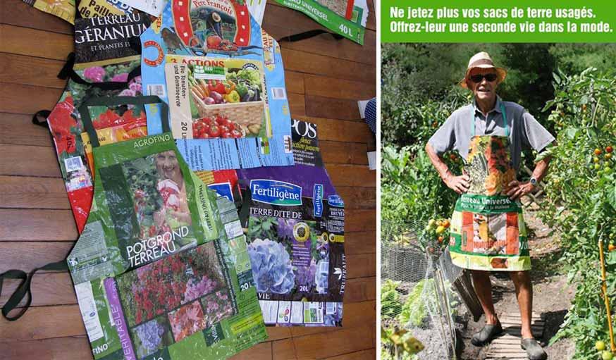 Sac de compost transformé en tablier de jardinage