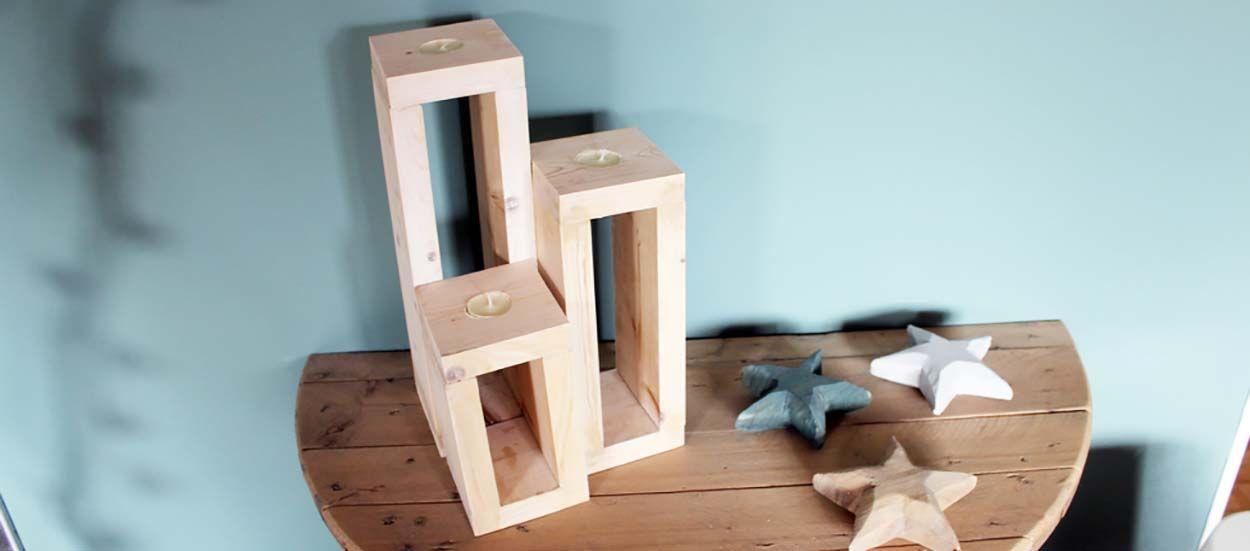 Tuto : Fabriquez 3 jolis bougeoirs scandinaves en bois