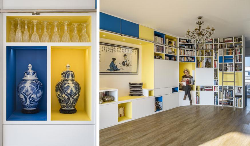 bibliothèque façon Mondrian par Nadège Nari