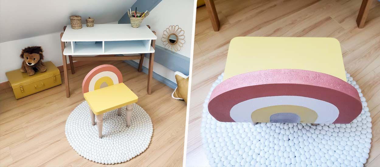 Tuto : Fabriquez une chaise arc-en-ciel pour enfant... avec des pieds de lit !