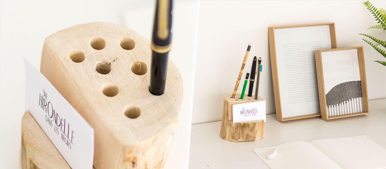 Tuto : Fabriquez un porte-crayons très nature à partir d'une bûche