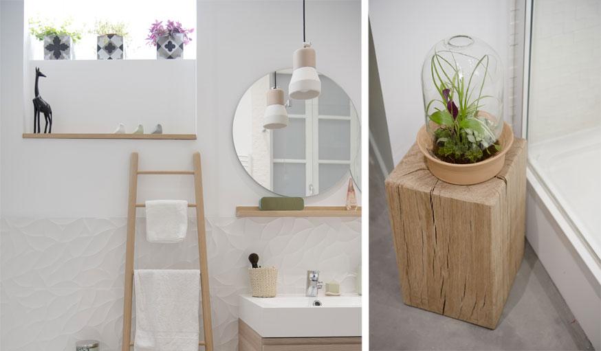 Salle de bains zen échelle et plantes Marion Lanoë