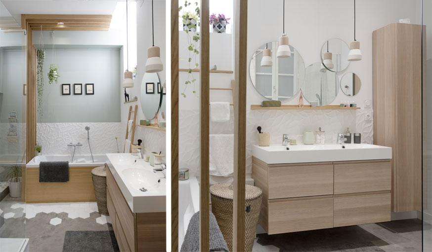 salle de bains zen avec claustra en bois Marion Lanoë