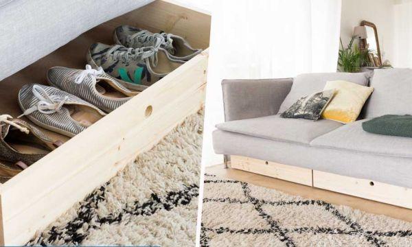 Tuto : Fabriquez des tiroirs gain de place à glisser sous le canapé