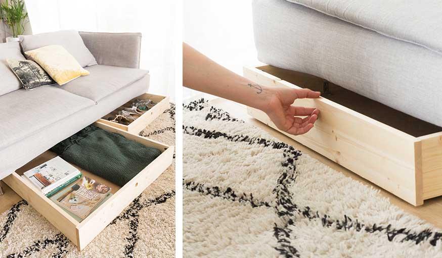 tutoriel tiroirs sous le canapé résultat ouverts