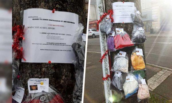 À Châteaudun, un arbre à écharpes pour aider les plus démunis