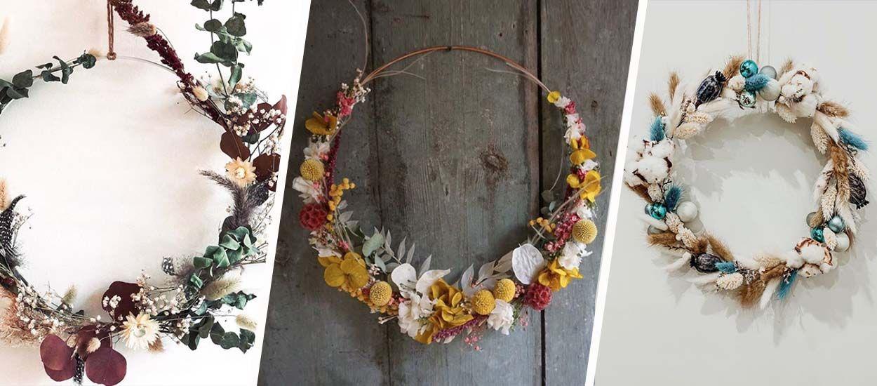 9 inspirations pour fabriquer votre couronne de fleurs séchées