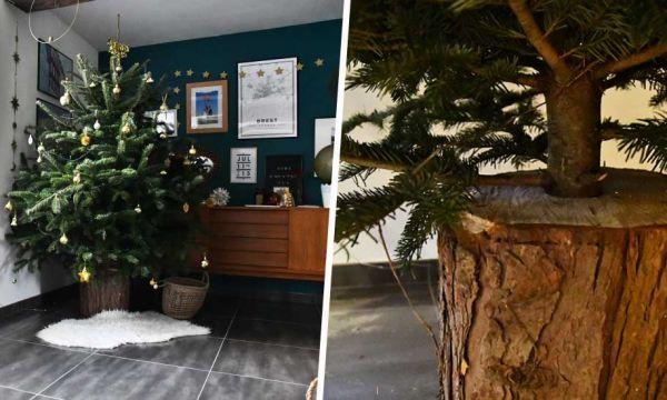 Tuto : Réalisez facilement un support pour votre arbre de Noël avec une bûche
