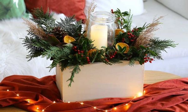 Tuto : Réalisez un centre de table très nature pour Noël