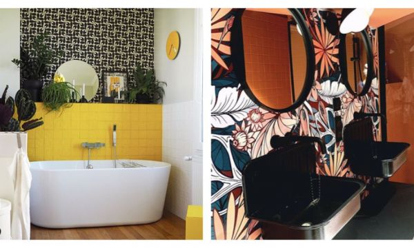 Nos conseils pour poser du papier peint dans la salle de bains (car oui, c'est possible)