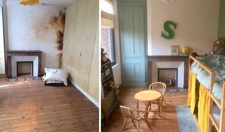 avant apres maison vintage chambre d'enfant avec cheminée