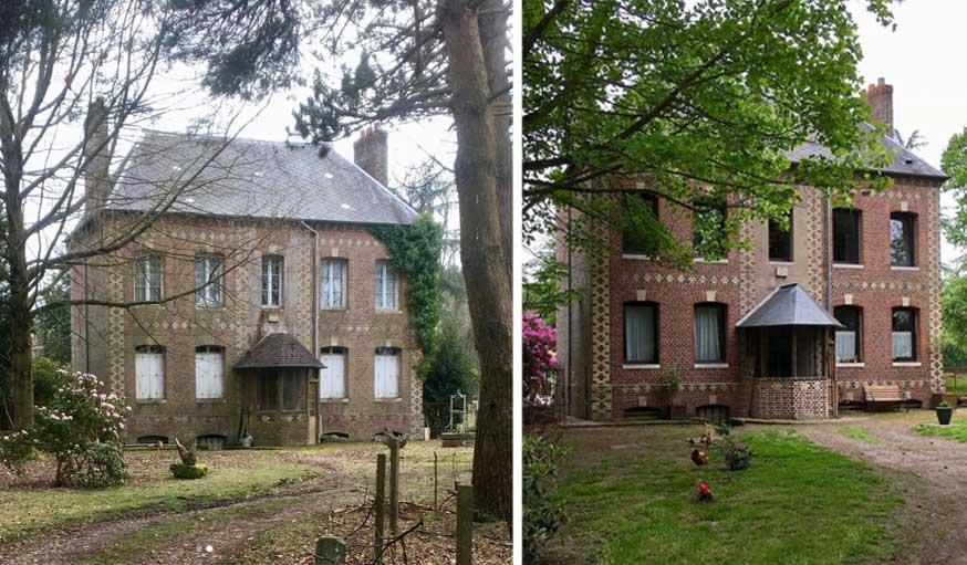 avant apres maison vintage façade de briques