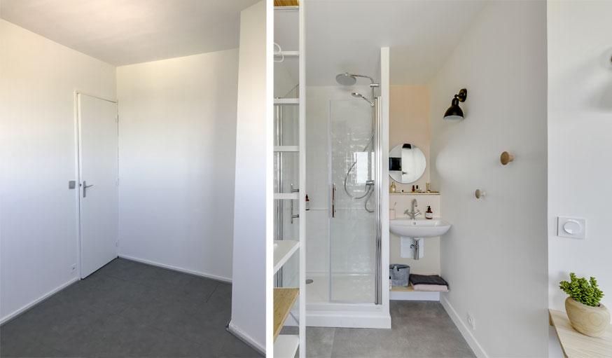 Chambre avant après, avec nouvelle petite salle de bains intégrée