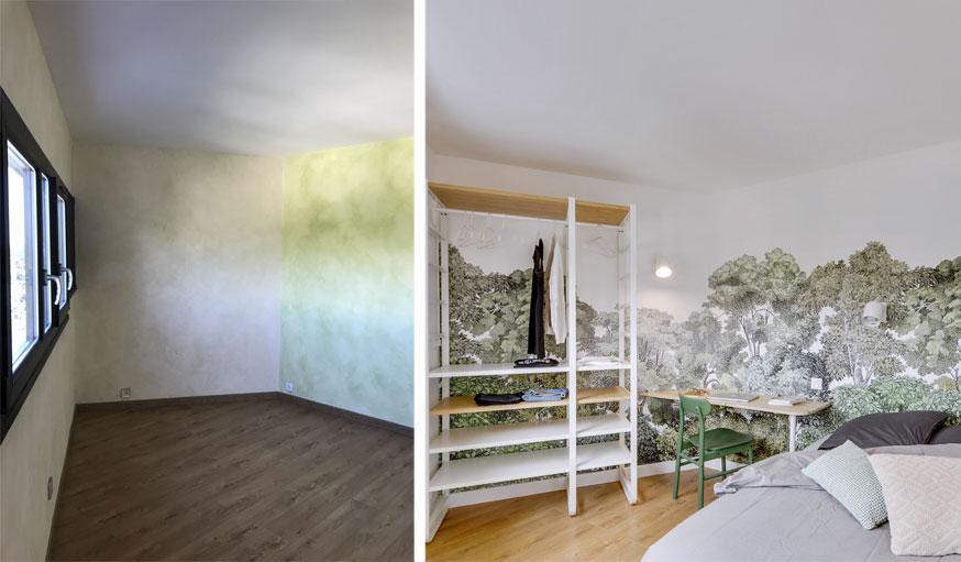 salon transformé en chambre papier peint fresque et meuble de rangement