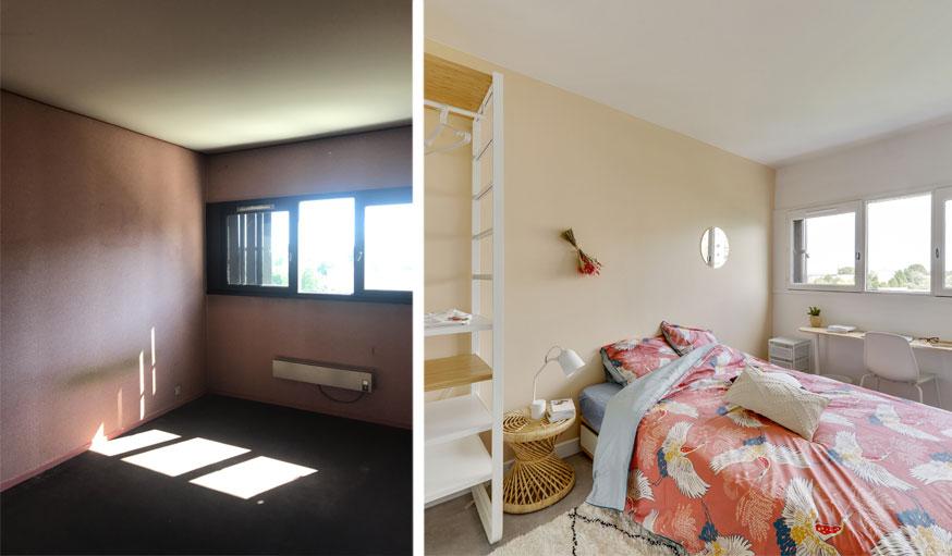 Avant et après les travaux : une chambre sombre devenue claire et agréable