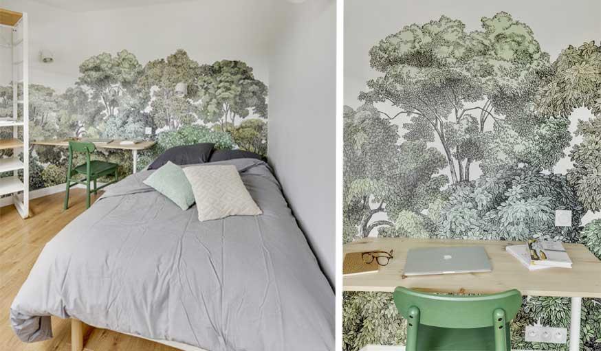 Zoom sur le papier peint fresque forêt