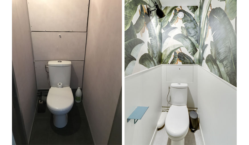 Toilettes avant et après : papier peint tropical