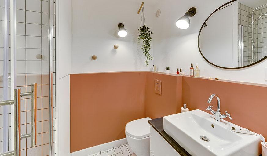 Salle de bains blanc et rouille