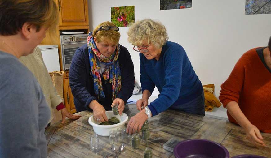 Mise en pot du mélange d'herbes aromatiques