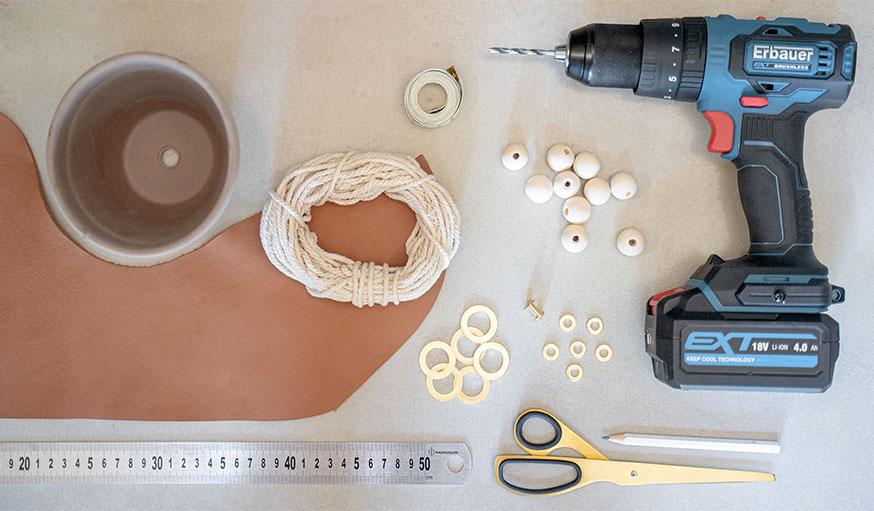 Tutoriel suspension en cuir pour plante matériaux