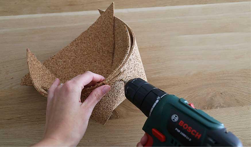 tutoriel fabriquer une corbeille en liège étape 3