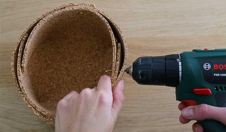 tutoriel fabriquer une corbeille en liège étape 5