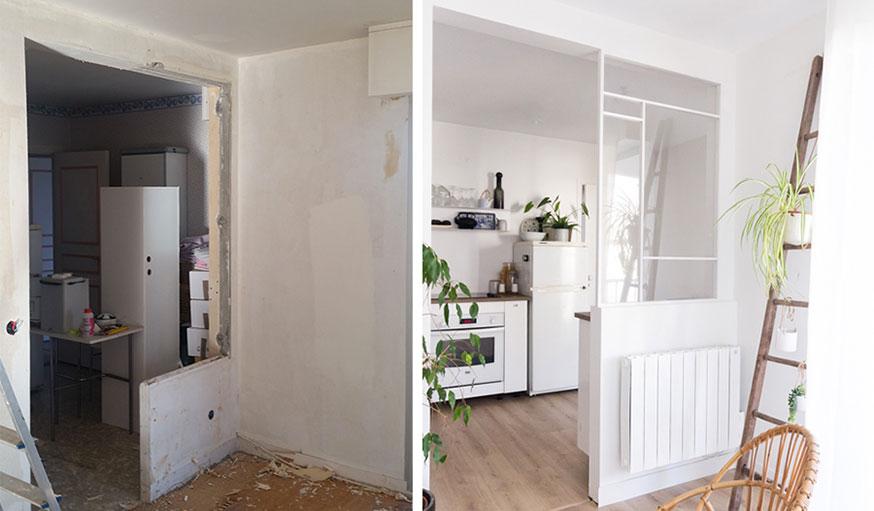 Avant après cuisine ouverte avec verrière