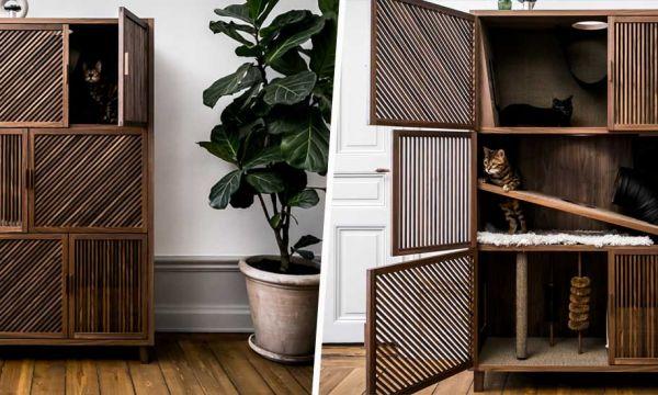 Marre du classique arbre à chat ? Passez à l'armoire à chat !