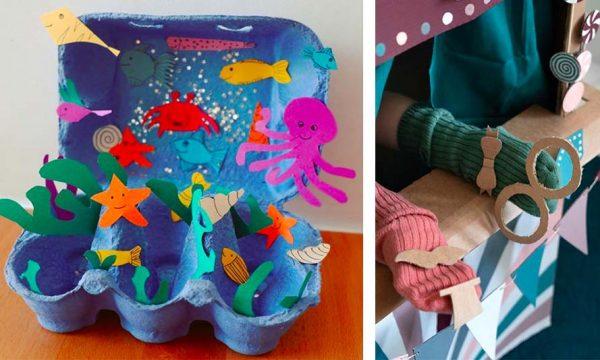 10 DIY pour les enfants avec ce que vous avez sous la main (carton, fleurs, cailloux...)