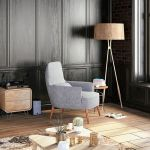 Intérieur noir avec fauteuil salon sans canapé