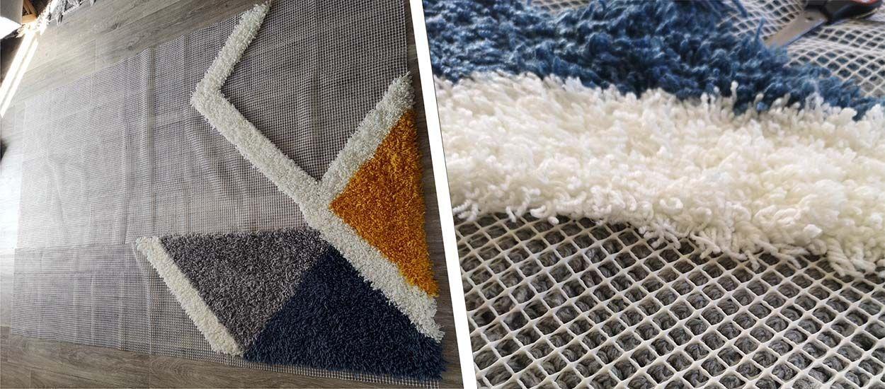 Pendant le confinement, elle fabrique un tapis à la main en suivant des tutos
