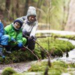 Des enfants découvrent un ruisseau en forêt lors d'une randonnée
