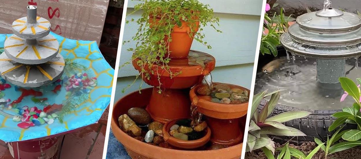 6 tutoriels récup pour fabriquer une fontaine extérieure originale