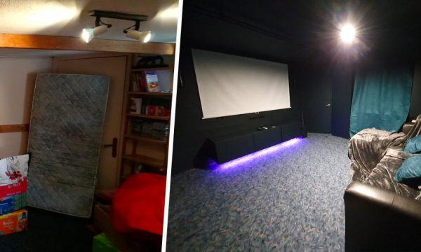 Avant / Après : Bricoleur débutant, il refait toute sa maison (et aménage une salle de ciné !)