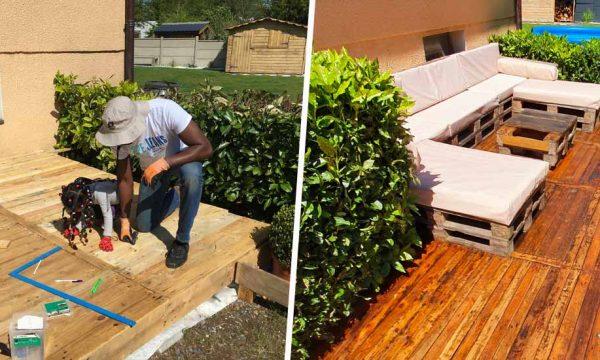 Avant / Après : Il a construit sa terrasse tout en palettes pour 300 euros seulement