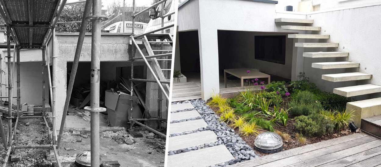 Avant / Après : Un jardin zen pour donner de l'air à cette maison entourée de murs en béton