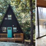 Une maison A Frame en charpente triangle et en bois