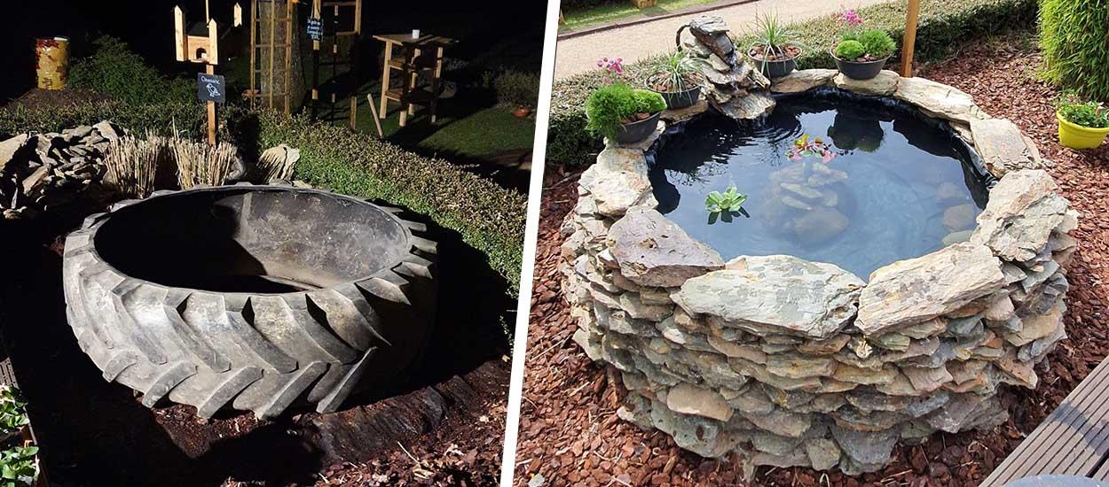 Fabriquez un bassin pour poissons avec un pneu de tracteur (sans creuser votre jardin)