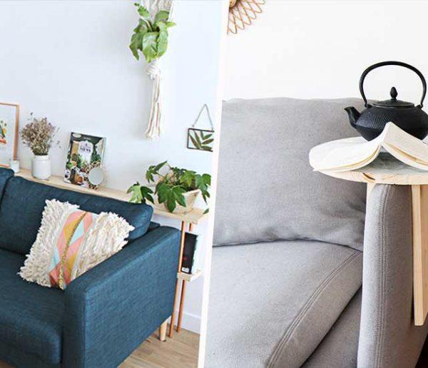 Best of : 9 petits meubles à construire pour gagner de la place (et du rangement !) autour de votre canapé