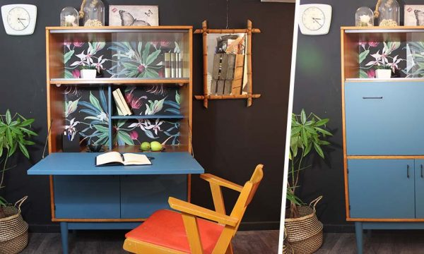 Tuto : Relookez un secrétaire  vintage avec du papier peint