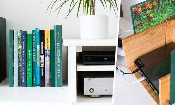 Tuto : Fabriquez un trompe-l'oeil bibliothèque 100% récup' pour cacher votre box internet