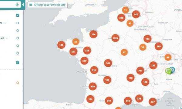 Cette carte répertorie l'ensemble des acteurs du zéro déchet en France