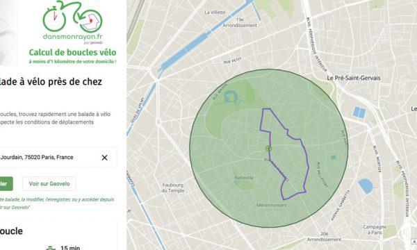 Ce site calcule des promenades à vélo autour de chez vous en restant dans un rayon d'1 km