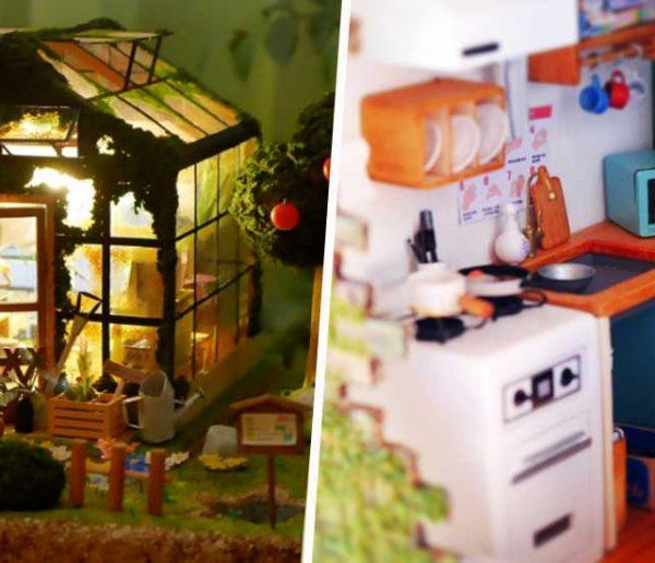 Regardez-le fabriquer des maisons de poupée miniatures plus vraies que nature